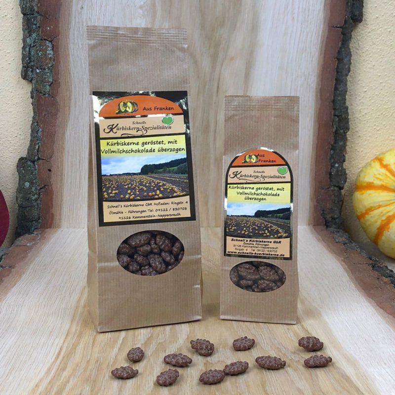 Kürbiskerne geröstet mit Vollmilchschokolade überzogen
