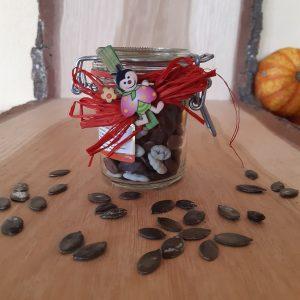 Kürbiskerne bunt schokoliert im Bügelverschlussglas