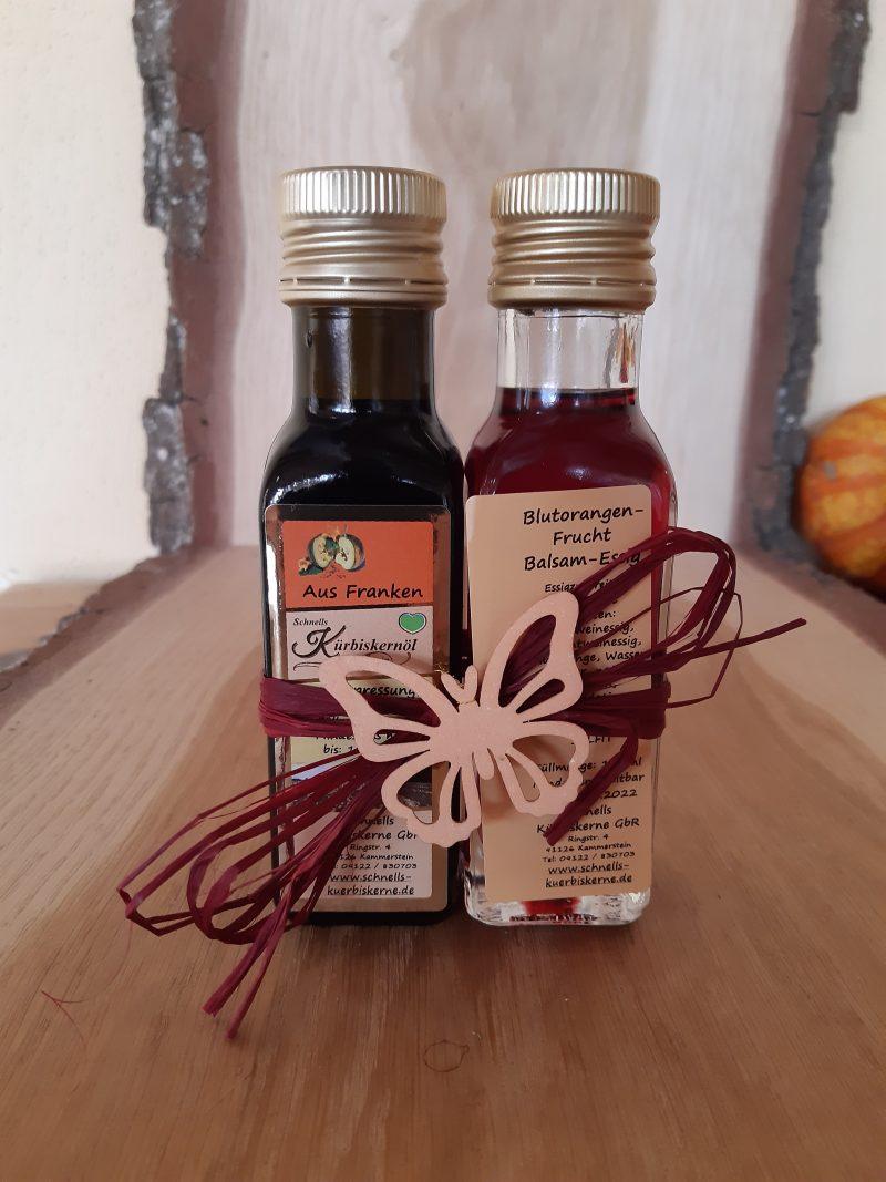 Kürbiskernöl und Blutorangen-Balsam-Essig