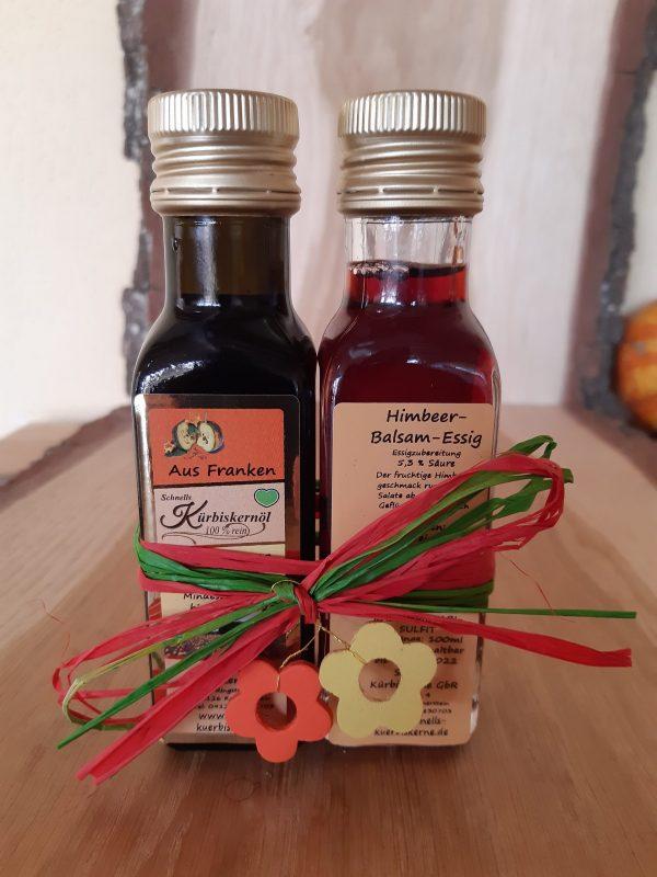 Kürbiskernöl und Himbeer Balsam Essig