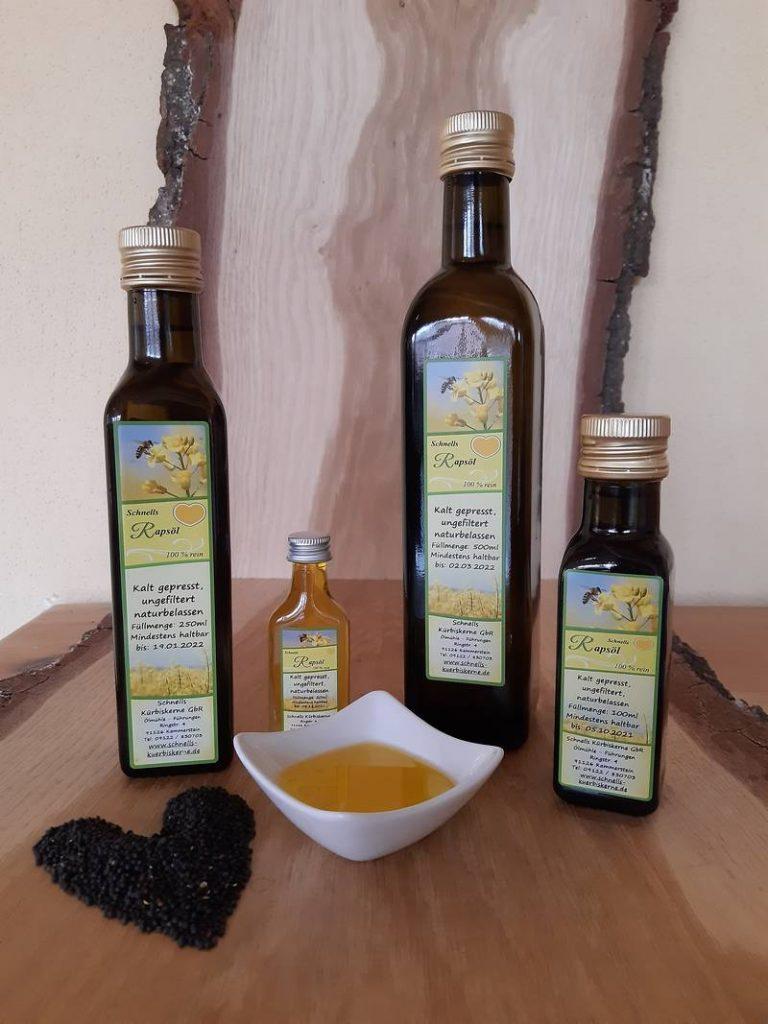 Rapsöl – kaltgepresst, ungefiltert, hochwertig – aus unserer eigenen Ölmühle