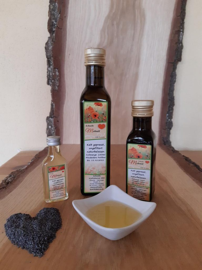 Mohnöl – intensiv, nussig, kaltgepresst, hochwertig, 100% rein – aus unserer eigenen Ölmühle