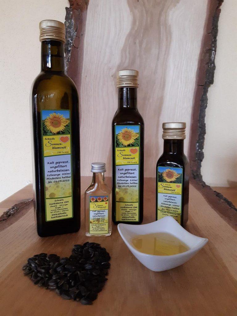 Sonnenblumenöl– kaltgepresst, ungefiltert, hochwertig – aus unserer eigenen Ölmühle – mit Sonnenblumenkernen aus eigenem Anbau